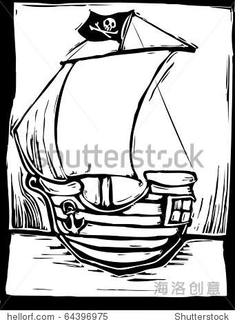 简单的木刻的顽皮的海盗船
