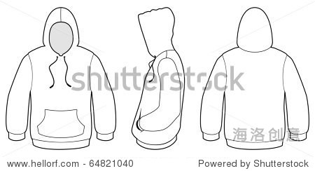 Template vector illustration of a blank hooded sweater. All objects and details are isolated. Colors and transparent background