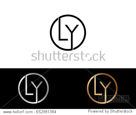 letter design vector with black gold silver colors图片
