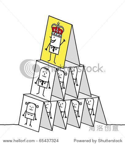手绘卡通人物——强大的国王&卡片金字塔