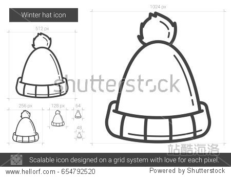 winter hat line icon for infographic website or app.