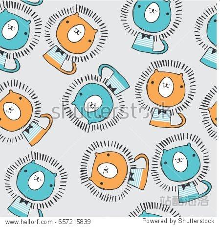 cute lion pattern design图片