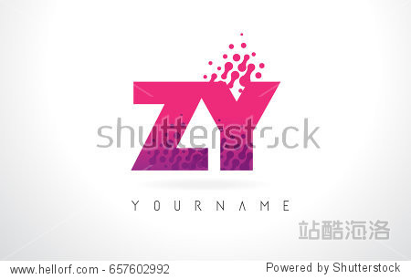 zy z y letter logo with pink letters and purple color particles