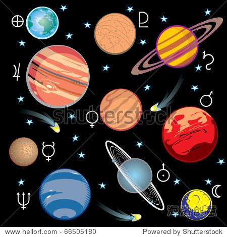 收集太阳系中行星的矢量图像的图形符号