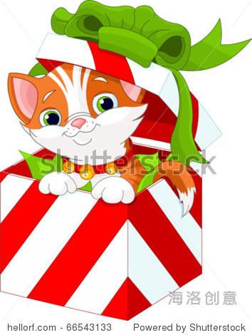 可爱的小猫在圣诞礼物盒子