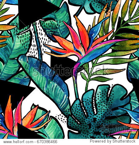 Watercolor tropical leaves and flowers with contour seamless pattern. Watercolour monstera, palm leaves, bird-of-paradise with minimal elements background. Hand painted illustration for summer design.