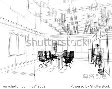 现代办公室室内设计草图(3 d渲染)