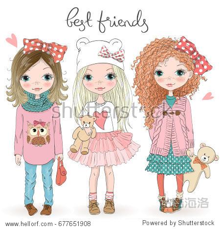 三只手绘制美丽可爱的小女孩与泰迪熊与铭文最好的的.