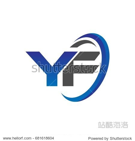 initial letter logo yf with swoosh round blue and图片