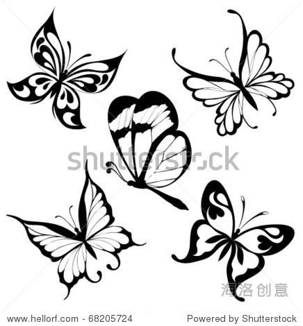 黑白色的蝴蝶纹身