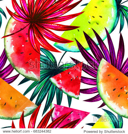 Natural pattern with tropical yellow, red, orange slices of watermelon and palm tree leaves. Watercolor summer background for hawaiian party. Floral seamless texture for invitation, wallpaper, banner