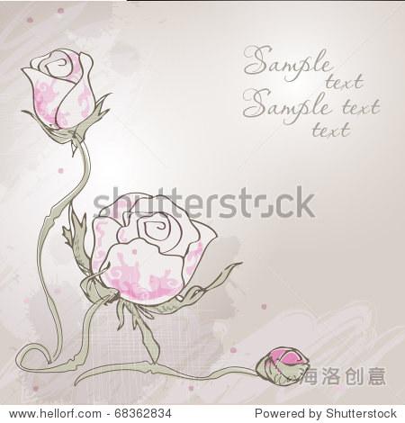 的背景与手绘玫瑰花 - 复古风格,插图/剪贴图 - 站酷