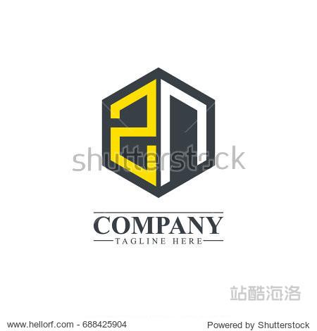 initial letter zn hexagonal design logo
