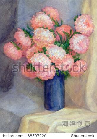 水彩静物画 深蓝色的花瓶和一束豪华粉红色紫苑 艺术,插图 剪贴图