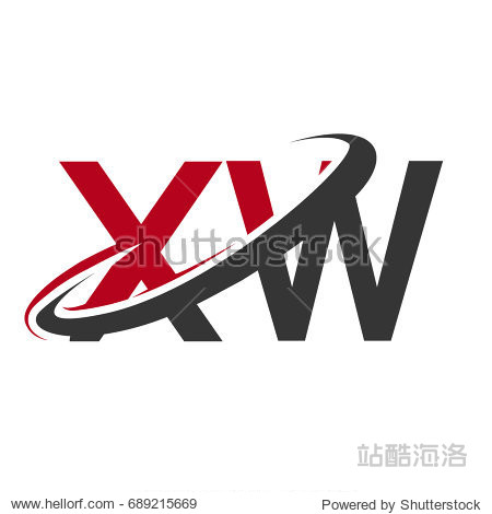 xw initial logo company name colored red and black swoosh design