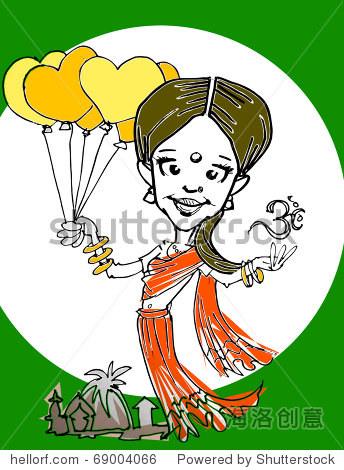 印度女孩,手画漫画