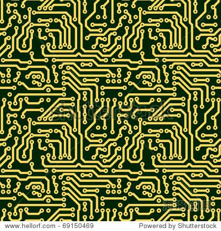 文摘无缝纹理——绿色电子电路板