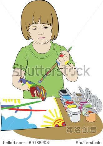 小女孩画水粉画
