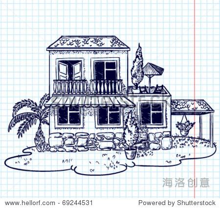 粗略的手绘涂鸦房子(别墅) - 插图/剪贴图,建筑物