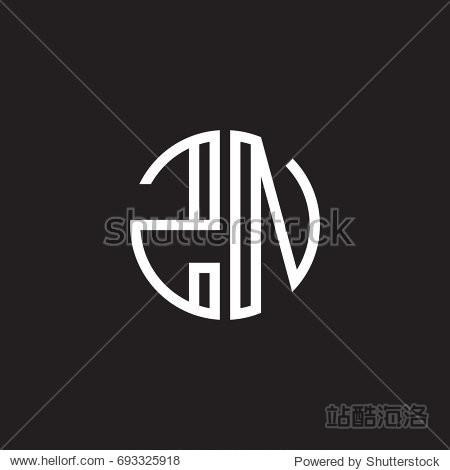 initial letter zn minimalist line art monogram circle shape logo