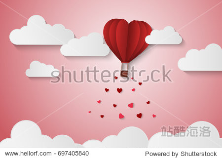 Paper Style love of valentine day , balloon flying over cloud with heart float on the sky, couple honeymoon , vector illustration background