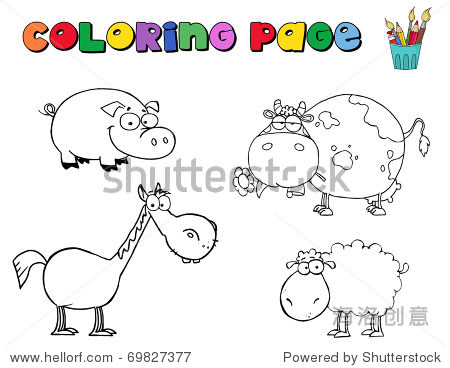 幼儿农场里的动物简笔画