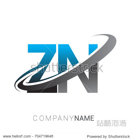 initial letter zn logotype company name colored blue and grey sw
