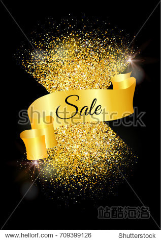 card with gold glitter and bokeh effect.