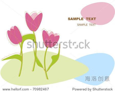 用鲜花矢量图卡