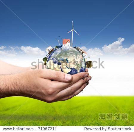 世界太阳图纸风车和绿色电池板。在我的v世界接概念怎么钢结构梁柱刚在表示图片