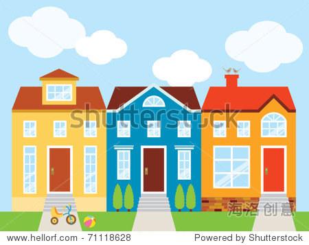 矢量插图五彩缤纷的房子的前院.