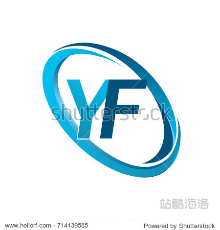 letter yf logotype design for company name colored blue swoosh.图片