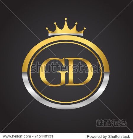 initial letter gd logotype company name with oval