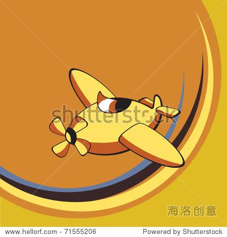 运输说明卡通.小复古的飞机