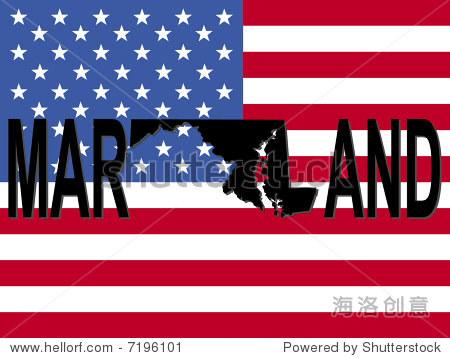 马里兰文本与美国国旗地图插图