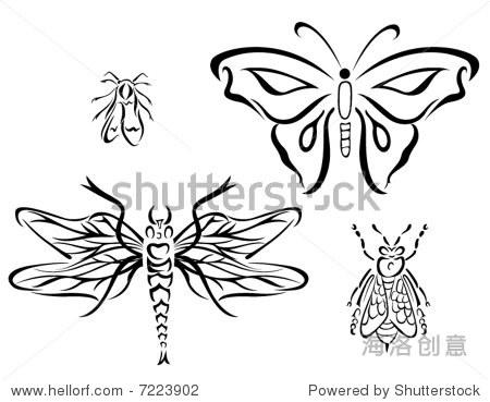 艺术线条矢量动物系列:昆虫