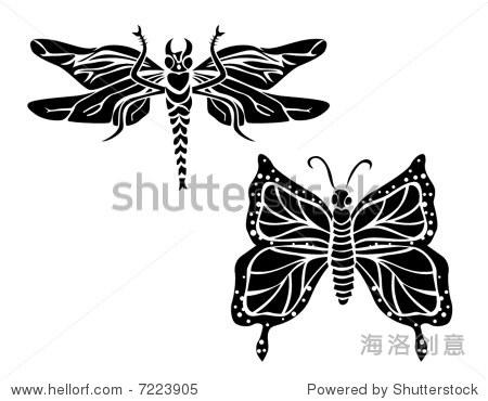 艺术线条矢量动物系列:蜻蜓和蝴蝶