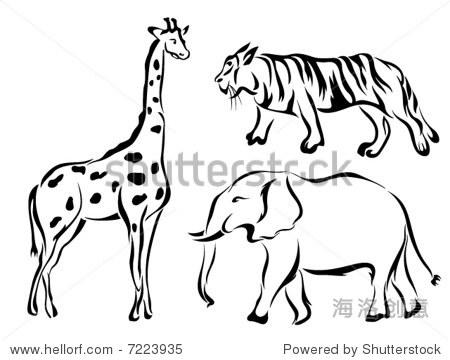 艺术线条矢量动物系列:动物园/狩猎动物
