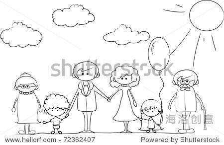 幸福的家庭牵手手绘孤立在白色背景