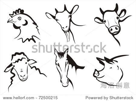 在简单的黑色线条农场动物符号的集合