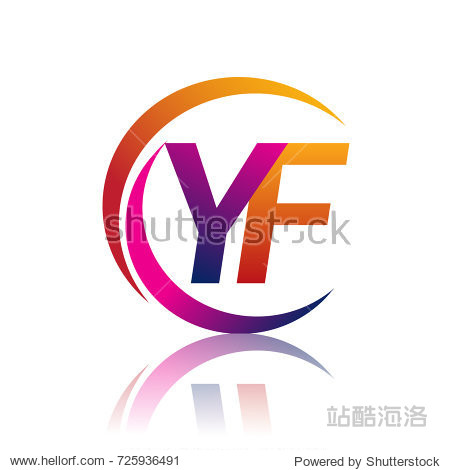 initial letter yf logotype company name orange and magenta color图片
