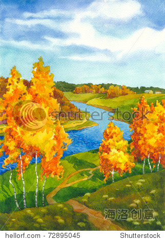 水彩风景.沿着蜿蜒的河流蜿蜒的路径被泛黄的秋天的树木包围着