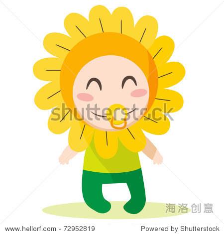可爱甜美的男婴穿花衣服