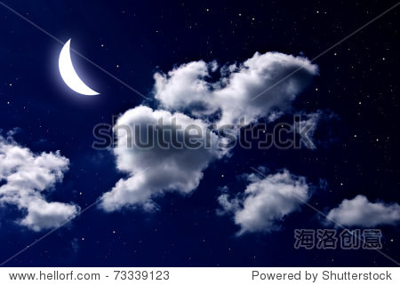 moonsky_moon and star in the cloud sky at night