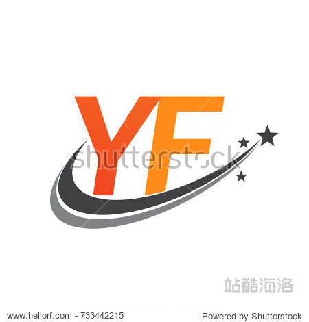 initial letter yf logotype company name colored orange and grey图片