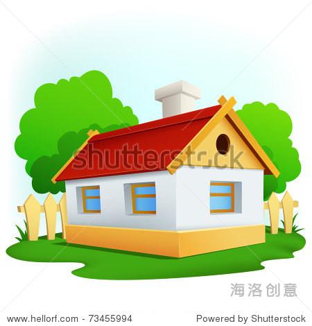 矢量插图.卡通农村房子在树和栅栏