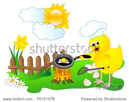 复活节背景,小鸡的厨师 - 抽象,插图/剪贴图 - 站酷
