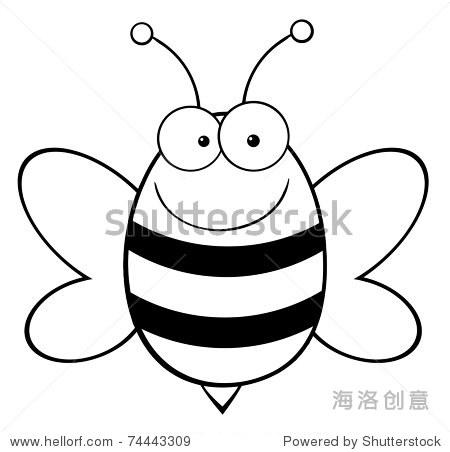 概述了蜜蜂吉祥物卡通人物-动物/野生生物,插图/剪贴