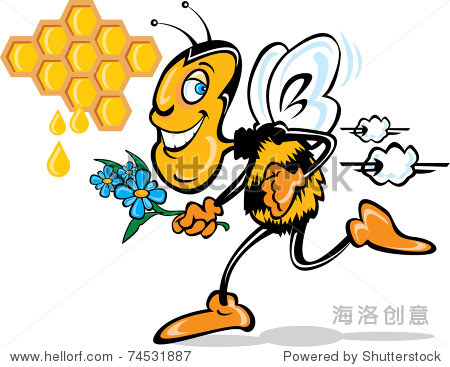 矢量插图漫画蜜蜂与花朵和蜜蜂蜂巢/卡通