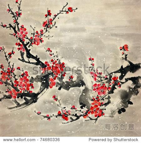 梅花传统中国画. - 插图/剪贴图,自然 - 站酷海洛创意图片